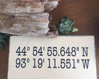 GPS coordinates // longitude latitude sign/ reclaimed wood art / wedding gift /unique home decor
