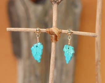 Turquoise earrings - drop earrings - turquoise leaf earrings - custom earrings - gold filled earrings