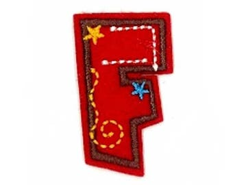 Fusible embroidered alphabet letter F sold individually