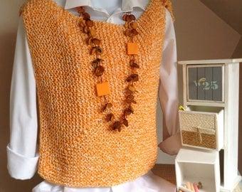 Unique pattern orange top