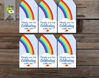 Rainbow party tag, party bags, favor tags, Rainbow Party Favor Tags, Rainbow Birthday Party, Rainbow Thank You Tags, Girls Rainbow Birthday