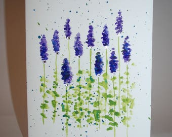 Lavender Watercolor Floral Handmade Greeting Card