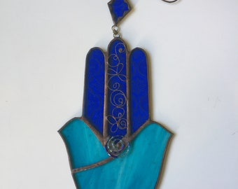 TWO DOVES HAMSA Hand,Stained Glass-Colors:Light blue and blue with beads, wall hanging