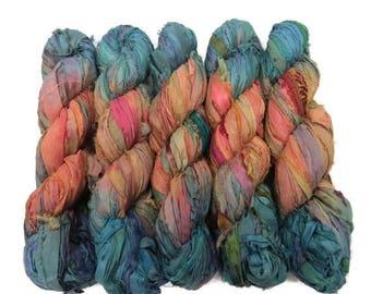 SALE New! Sari Silk Ribbon, 100g ,  50 yards, Sandstone