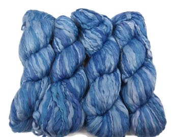 SALE Handspun and hand dyed Acrylic Thick/Thin yarn, Blue/lilac/lavender