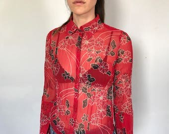 Sheer 90s Blouse with Small Black Flowers