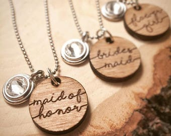 Set of 4 Engraved Bridal Party Rustic Wedding Necklace | Will you be my