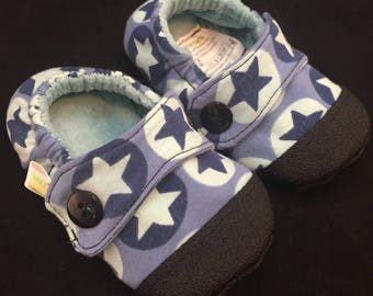 Blue Stars Little Man Toes-Size 6 Soft-Soled Baby and Toddler Shoes/Moccs