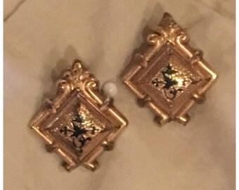 Edwardian 12k Gold Filled Enamel Earrings  Black Enamel Gold Art Nouveau Screw Back Earrings