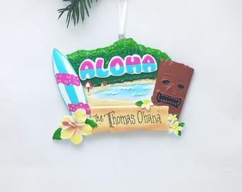 Hawaii Personalized Christmas Ornament / Hawaii Ornament / Hawaii Souvenir / Christmas Ornament / Aloha / Family Vacation