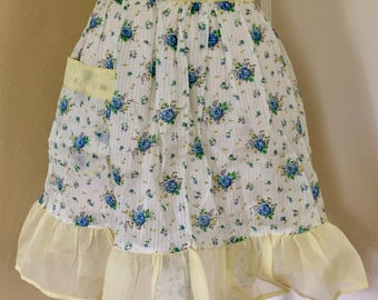 Vintage Half Apron with Blue Flowers and Yellow Organza Ruffle and Ties