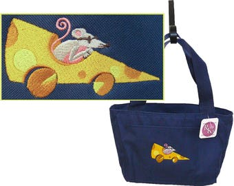 Mouse In Cheese Car Lunch Pail Funny Insulated Cooler Custom Embroidered
