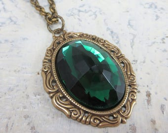 Emerald Green Necklace Pendant Large Glass Jewel Necklace Victorian Art Deco Jewelry May Birthstone