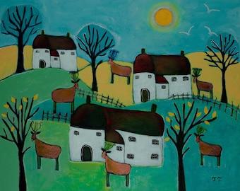 Landscape Painting, Folk Artwork, Naive Painting, Deer Animal Artwork, Primitive Art, Countryside, Rustic, Animal Art, Deer, Lyre, Cottage