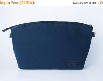SUMMER SALES Dslr Camera bag insert in waxed canvas and leather trimming - Padded divider - blue and black