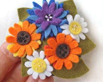 Summer Flowers Felt Brooch, Marigolds, Cornflowers, Daisies Floral Brooch, Felt Flower Pin, Wild Flower Jewellery