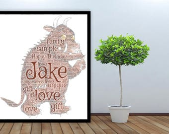 Personalised Word Art Gift Framed Print Gruffalo Birthday Gift For Her Sister Friend Daughter Auntie