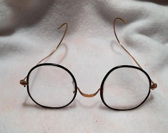 Vintage Gold Filled Shur-On Eyeglasses Spectacles Glasses with Bifocals and Rubber Rimmed Lenses, c. 1930