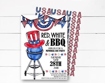 Memorial Day Invitation, Independence Day Invitation, BBQ Invitation, Patriotic Invitation, Red White and Blue, Picnic Invite, DIY/Printed