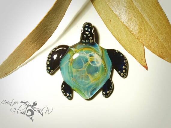 Sea Turtle Necklace - Nebula Necklaces Made from Borosilicate Glass - Detailed Universe Nebula Shell - Galaxy Necklace Turtle -