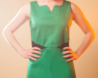 Tifia at Chilia green cotton and black lycra dress