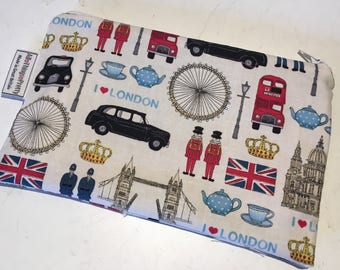Make -Up bag in London Scene cotton fabric & Vintage Ticking