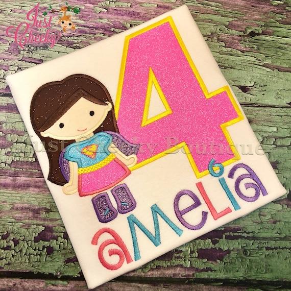 Super Girl with Brown Hair Inspired Cutie Birthday Shirt - Superhero Embroidered Shirt - Superhero Birthday