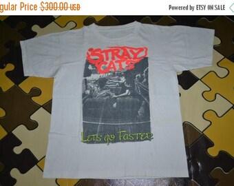 ON SALE 20% Vintage 1991 The STRAY Cats Lets Go Faster Australia Concert Tour Rockabilly Punk Rock Large Size Rare T-shirt
