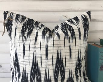 Black and White Guatemalan Ikat Pillow Cover