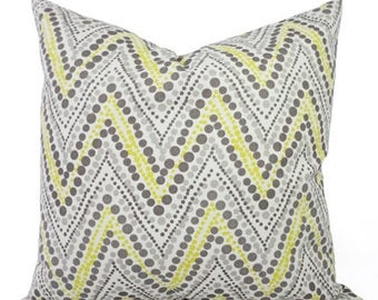 15% OFF SALE Two Yellow and Grey Pillow Covers -  Chevron Decorative Pillows - Yellow Grey and Cream Chevron Pillow Covers - Grey Pillows -