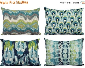 15% OFF SALE Blue Ikat Lumbar Pillow Cover - One Blue and Green Ikat Pillow Cover - 12 x 16 Inch Decorative Pillow - Blue Ikat Pillow - Gree