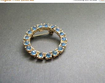 ON SALE Vintage Rhinestone Brooch Silver Tone Pin Blue Rhinestone Silver Ring Circle Shape Silver Toned UnSigned Jewelry