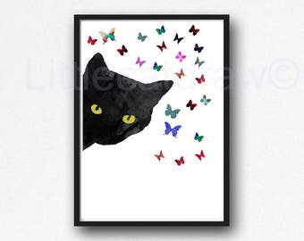 Sneaky Black Cat Watercolor Painting Print Cat Print Cat with Butterflies Print Wall Art Cat Wall Decor Art Print Cat Lover Gift Unframed