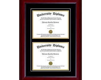 """Double Diploma Frame with Mahogany Faded Black (1 5/8"""") Moulding"""
