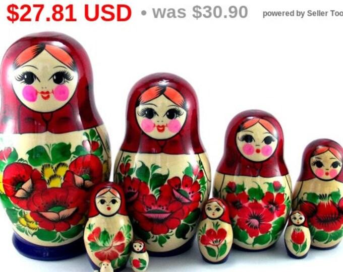Nesting Dolls 10 pcs Russian Matryoshka doll Babushka doll Stacking dolls for kids Handpainted wooden russian doll art dolls Suvenirnaya