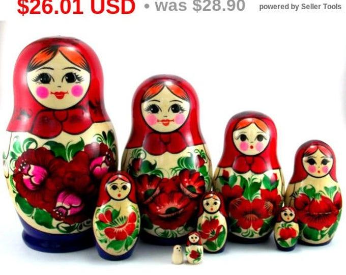 Nesting Dolls 9 pcs Matryoshka Russian Babushka doll set Stacking Wooden Handmade toy Birthday christmas gift Home decor idea Suvenirnaya
