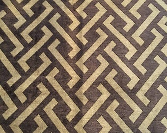 "Lee Jofa ""Chinese Fret"" Fabric in Bark - 1.1 Yards"
