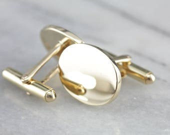 Heavy Polished Yellow Gold Cufflinks, Vintage Gold Cufflinks, Ready to Engrave UC3YDN-D
