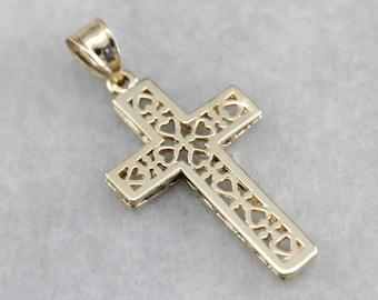 Vintage Heart Filigree Cross, Yellow Gold Cross, Bridal Jewelry, Religious Jewelry 3RPF9M-P