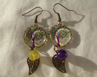 Yellow and purple tree of life earings