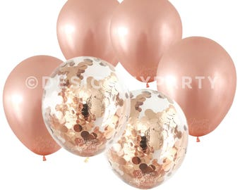 Rose Gold Metallic Balloons With 2 Confetti rose gold balloons (12 Pack) Copper Confetti