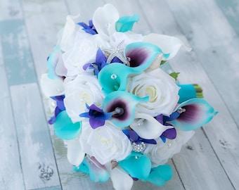 Wedding Aqua Turquoise Purple Natural Touch Callas White Roses Blue Purple Orchids Bride Bouquet