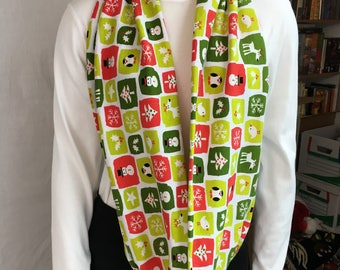 Christmas Theme Cotton Knit Infinity Scarf, Circle Scarf, Loop Scarf, long Scarf