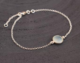 Chalcedony bracelet, Silver bracelet, Aqua blue chalcedony, Minimalist bracelet, Layering bracelet, Gift for her, Chalcedony jewelry