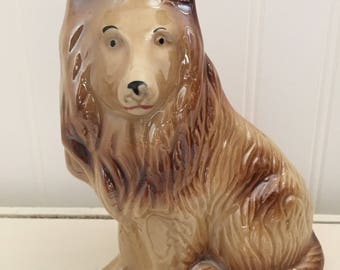 Vintage ceramic collie dog statue