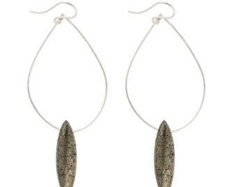 SUMMER SALE Pyrite Tear Earrings