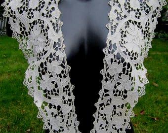 Antique Schiffli lace collar