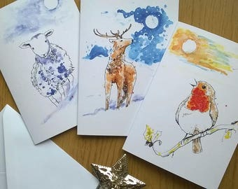 Winter Moon Wildlife Greetings Cards with Envelopes. Original Art. Set of 6. Blank Inside for Own Message