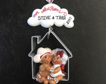 Our New Home / Personalized Christmas Ornaments / Gingerbread Couple / Couple Ornament