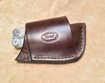 Custom Leather Cross Draw Sheath for a Leatherman Wave. Tool NOT included!